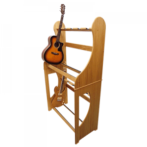 Multi Guitar Stands - Two Tier - For storing multiple acoustic and electronic guitars. View our range of handmade stands.