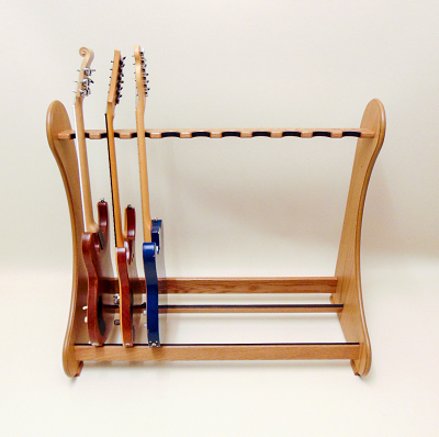 Handmade Multiple Guitar Stand in Real Oak Wood. View our range of classic style stands at www.stand-made.co.uk
