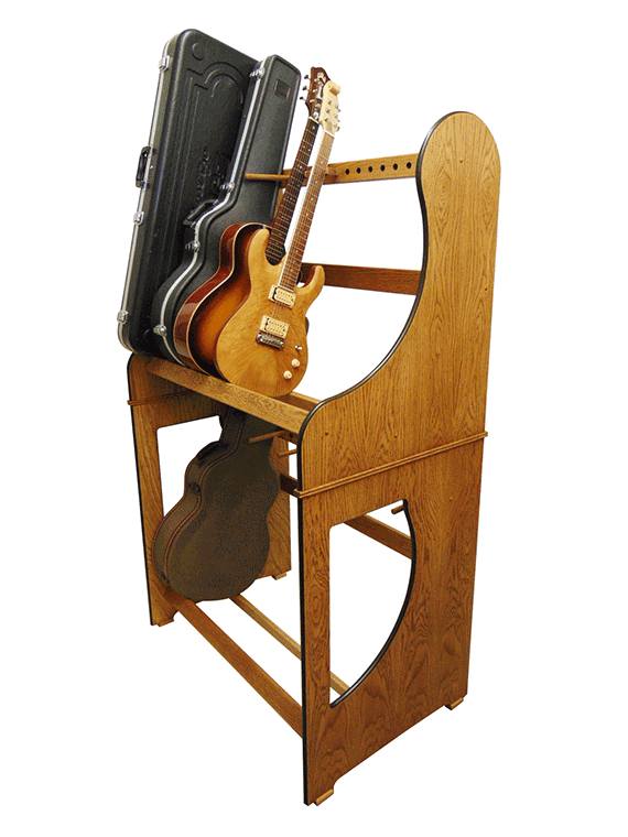 Double Decker Guitar Case Storage Racks custom made to order in real oak wood. View our full range online at www.stand-made.co.uk