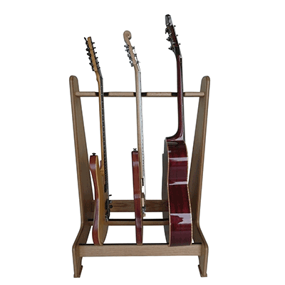 Handmade Multiple Guitar Stand in Real Oak Wood. View our range of Retro style stands at www.stand-made.co.uk