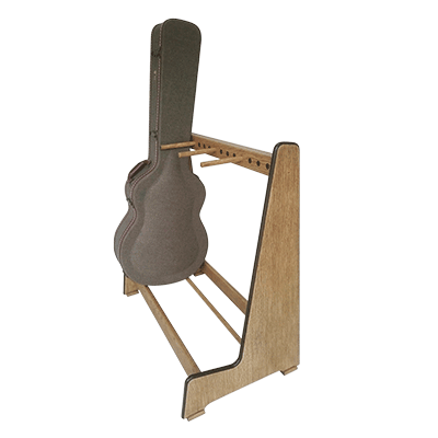 Handmade weathered oak retro guitar case rack order online at www.stand-made.co.uk