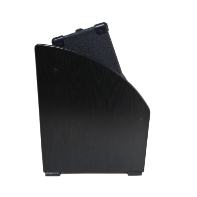 Dark Oak Tilted Amp Stand Side View with Amp